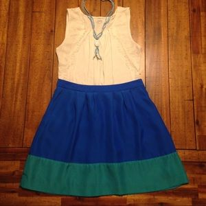 JCREW Blue / Teal Skirt with pleats & pockets!